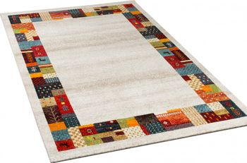 Modern Loribaft Border Designer Rug Nomadic Rug Multicoloured Beige and Cream – Bild 2