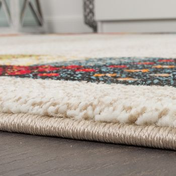 Modern Loribaft Border Designer Rug Nomadic Rug Multicoloured Beige and Cream – Bild 4