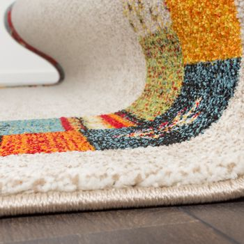 Modern Loribaft Border Designer Rug Nomadic Rug Multicoloured Beige and Cream – Bild 5