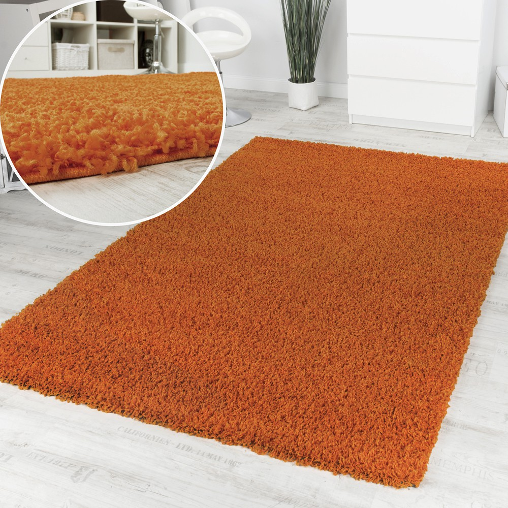 Shaggy High-Pile Rug One Colour Orange Top Offer at a Great Price