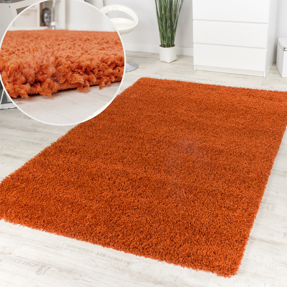 Shaggy High Pile Rug Dark Terracotta Clearance Sale Great