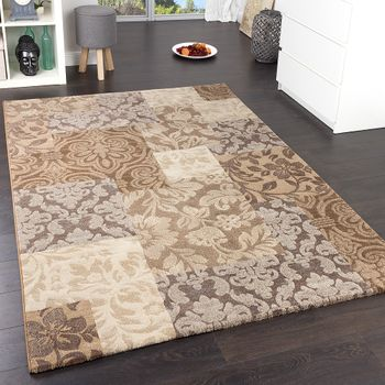Tapis Carreaux Baroque Marron