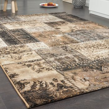 High-Quality Designer Rug Vintage Patchwork Sample Design In Brown Beige – Bild 3