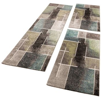 Bedroom Runners - Swirl - Gray Turquoise