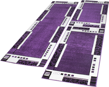 Designer Rug Border Set of 3 Purple