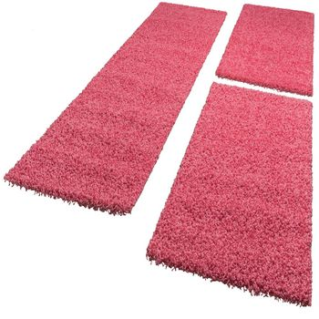 Bedside Runner Rug  3-Part Carpet Runner Set Shaggy Carpet in Pink – Bild 5