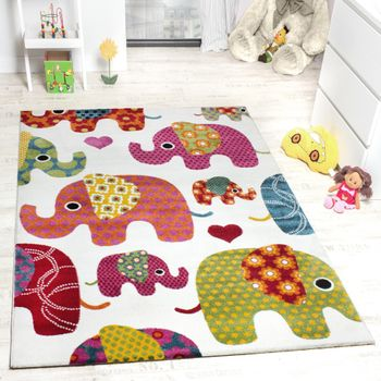 Kids' Rug - Elephant Design Multicoloured Creme Grey Pink – Bild 1