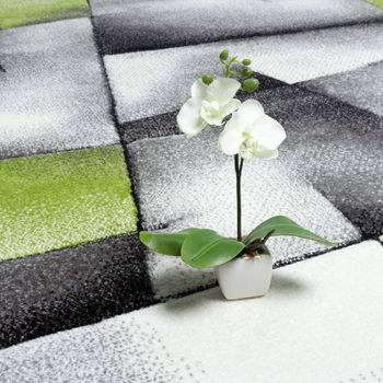 Designer Carpet Checkered Modern With Contour Cut Pattern Grey Green  – Bild 2