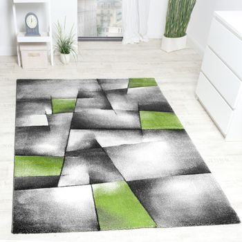 Designer Carpet Checkered Modern With Contour Cut Pattern Grey Green  – Bild 1