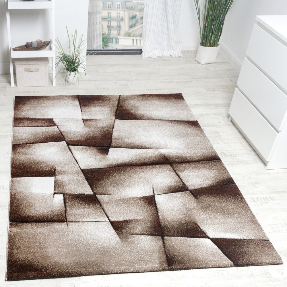Designer Carpet Checkered Modern In Contour Cut Pattern Brown Beige Cream