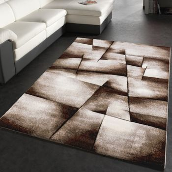 Designer Carpet Checkered Modern In Contour Cut Pattern Brown Beige Cream – Bild 4