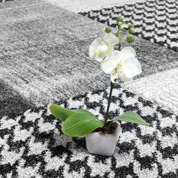 Designer Carpet Checkered Modern With Contours Handmade Light Grey Silver Color – Bild 2