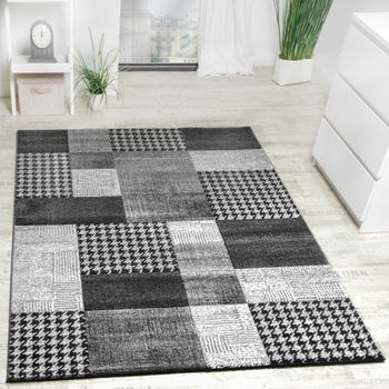 Designer Carpet Checkered Modern With Contours Handmade Light Grey Silver Color – Bild 1