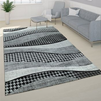 Designer Carpet Modern With Contour Cut Pattern Grey White – Bild 1
