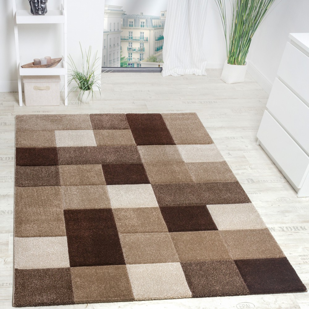 tapis design carrel moderne fait main marron beige crme - Tapis Design