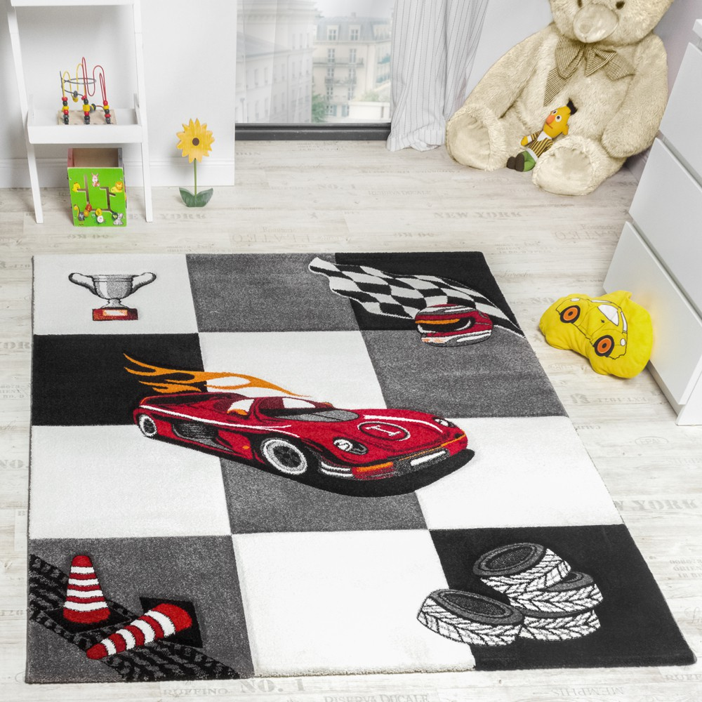 tapis chambre d 39 enfant tapis de jeux voiture de course gris cr me tapis enfants. Black Bedroom Furniture Sets. Home Design Ideas