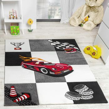 Kids' Rug Racing Car Design For Boys In Contour Cut Grey Cream Black – Bild 1