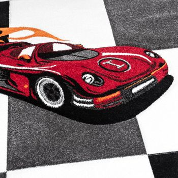 Kids' Rug Racing Car Design For Boys In Contour Cut Grey Cream Black – Bild 2