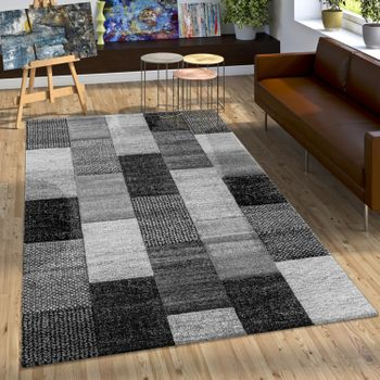 Rug With Check Pattern Grey