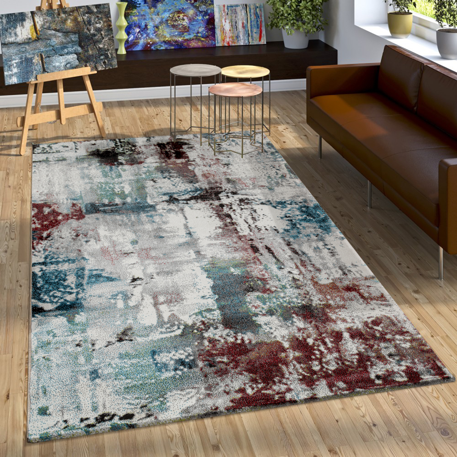 Designer Rug Modern Canvas Effect Abstract Splash Brushed Turquoise Red Cream