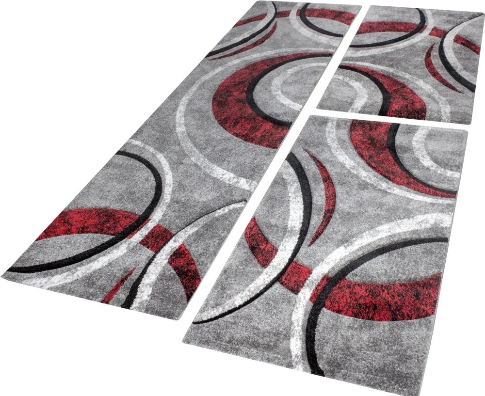 Bettumrandung Teppich mit Konturenschnitt Grau Schwarz Rot Läuferset 3 Tlg