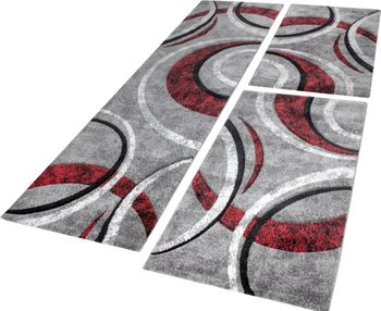 Bedroom Runners Set Of 3 Grey Red