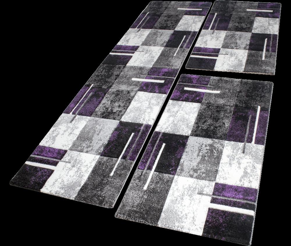 descente de lit tapis marbr avec motifs carreaux violet gris cr me 3 pcs tapis cadres de lit. Black Bedroom Furniture Sets. Home Design Ideas