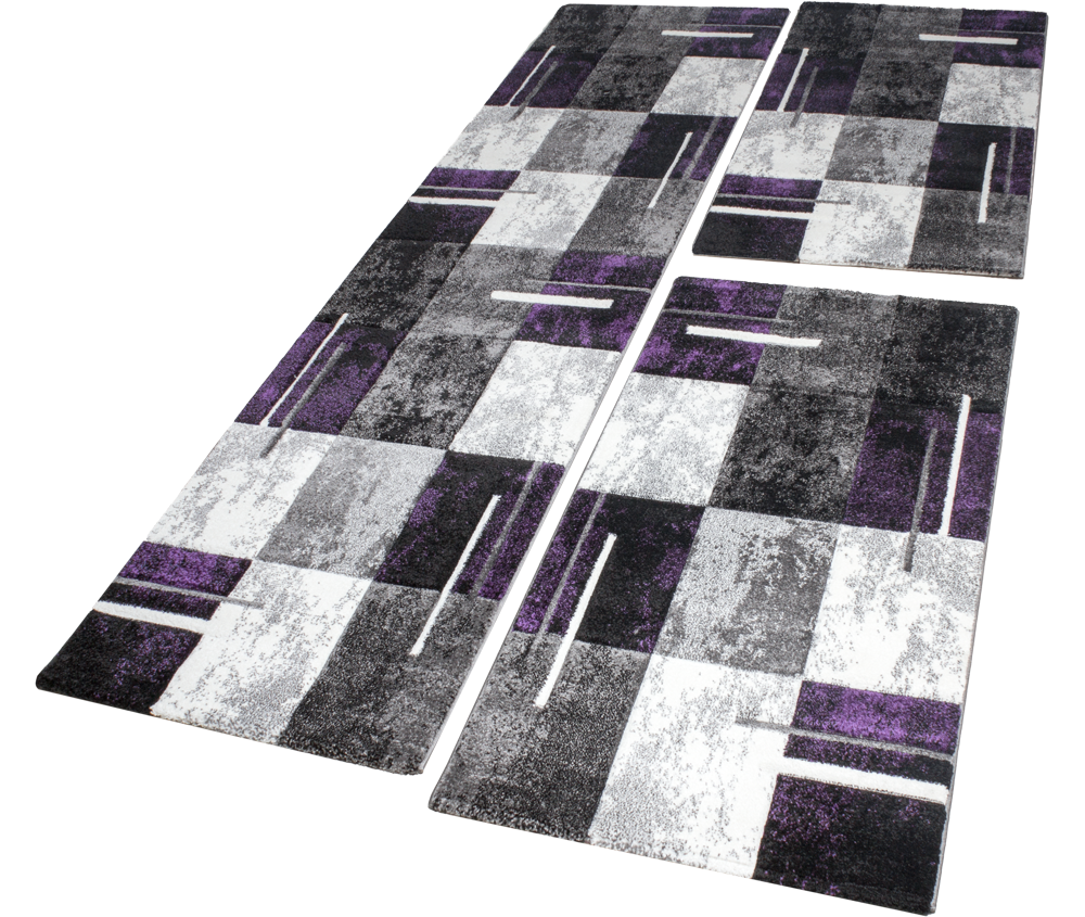 Bettumrandung Teppich Marmor Optik Karo Lila Grau Creme Läuferset 3 Tlg