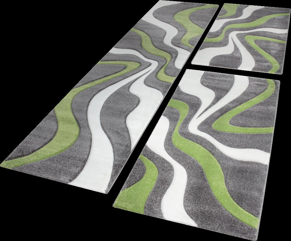 Descente De Lit Tapis Design Aux Contours Decoupes Motif Vagues Vert