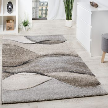 Woven Carpet Wave Look Grey Beige