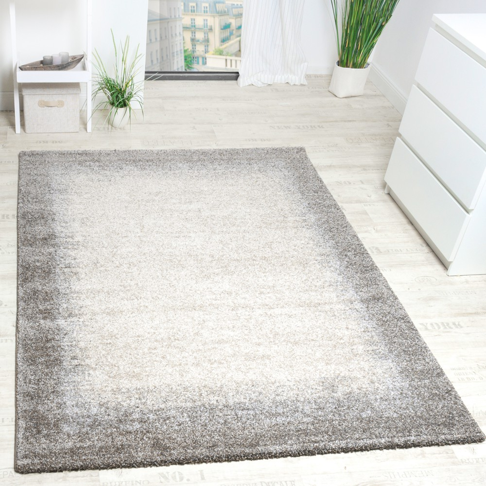 Woven Carpet Modern High Quality Mottled With Border In Beige Cream Grey