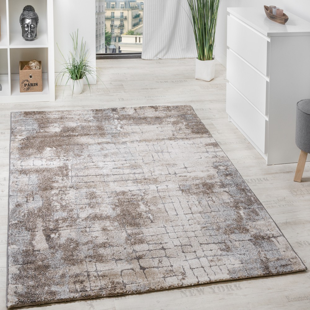 tapis de marque motif muraille de pierres avec effet relief beige argent gris tapis tapis poil ras. Black Bedroom Furniture Sets. Home Design Ideas