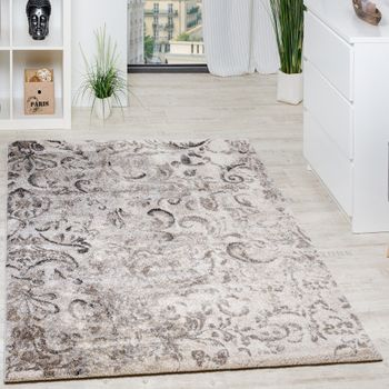 Woven Carpet Modern High Quality Mottled With Floral Pattern In Beige Cream Grey – Bild 1