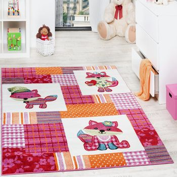 Kids' Rug - Trendy - Foxes - Multicoloured Magenta Cream – Bild 1