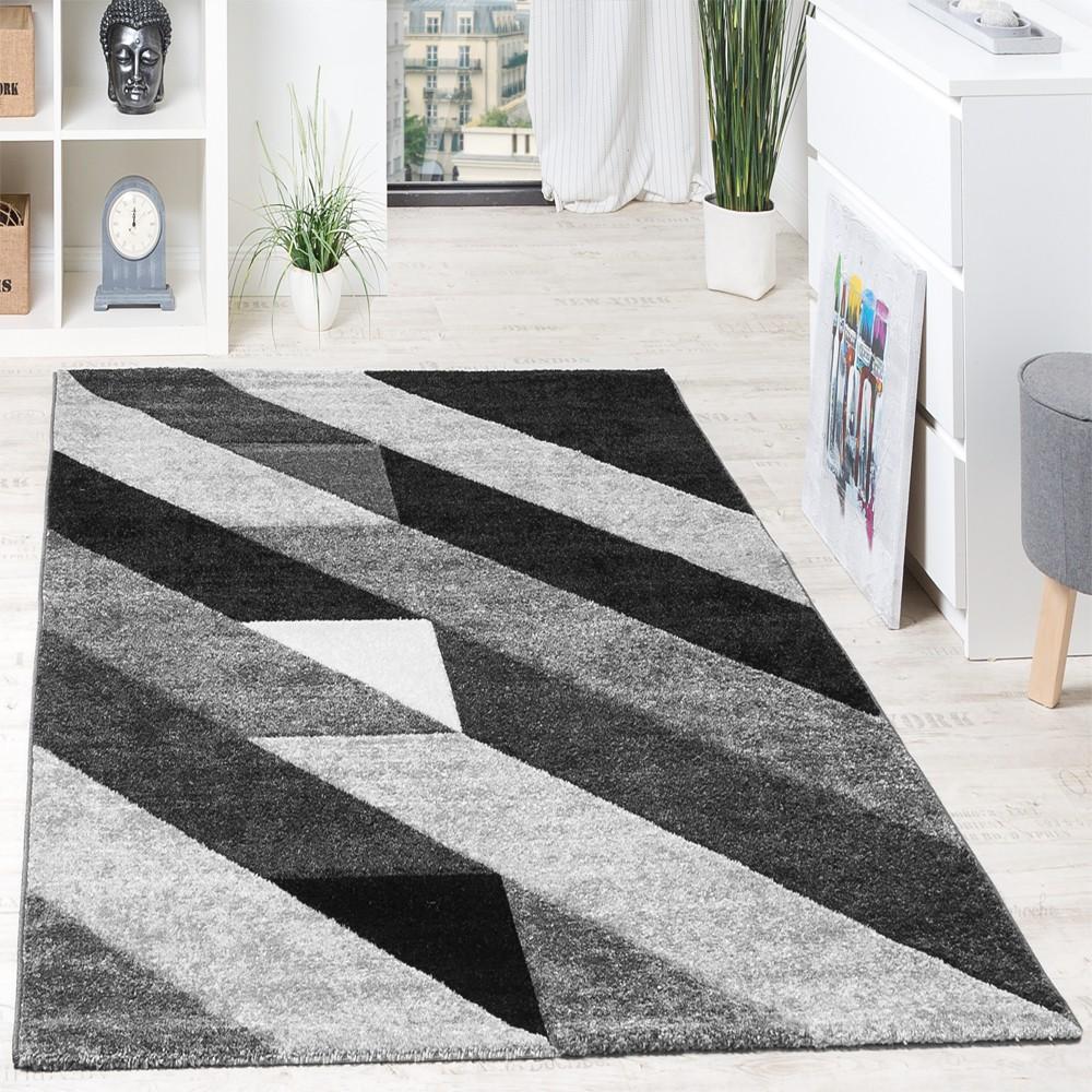 Designer Teppich Hochwertig Diagonal Streifen Dreiecke In 3D Optik Grau Schwarz