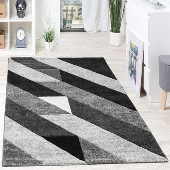 Designer Teppich Hochwertig Diagonal Streifen Dreiecke In 3D Optik Grau Schwarz  – Bild 1