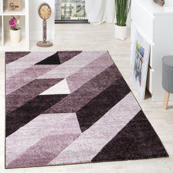 Designer Teppich Hochwertig Diagonal Streifen Dreiecke 3D Optik Lila Beerentöne – Bild 1