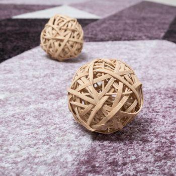 Designer Teppich Hochwertig Diagonal Streifen Dreiecke 3D Optik Lila Beerentöne – Bild 2