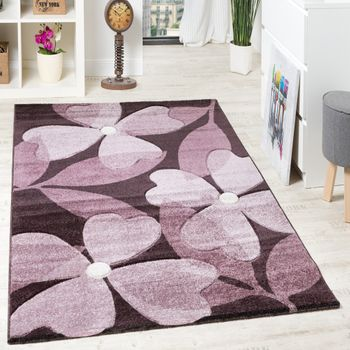 Designtapijt hoogwaardig modern bloemenpatroon gemengd klaverblad paars lila crème – Bild 1