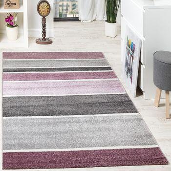 Designer Teppich Hochwertig Modern Linien Muster Meliert Zeitlos Graustufen Lila Grau – Bild 1