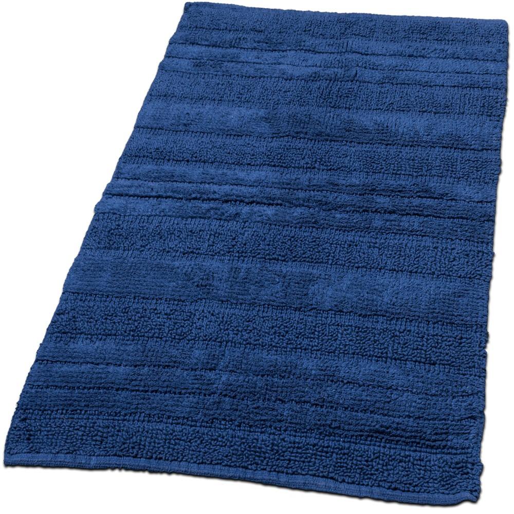 Badematte Badteppich Badezimmerteppich aus Baumwolle Einfarbig in Dunkel Blau