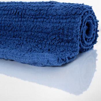 Badematte Badteppich Badezimmerteppich aus Baumwolle Einfarbig in Dunkel Blau – Bild 2