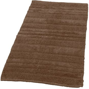 Badezimmerteppich aus Baumwolle Einfarbig in Braun Schoko
