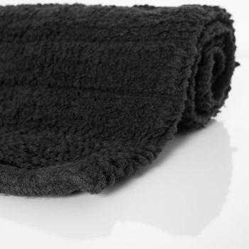 Badematte Badteppich Badezimmerteppich aus Baumwolle Einfarbig in Schwarz – Bild 2