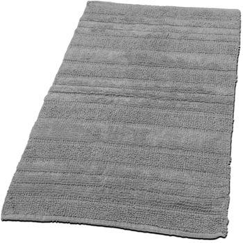 Badematte Badteppich Badezimmerteppich aus Baumwolle Einfarbig in Grau Silver – Bild 1