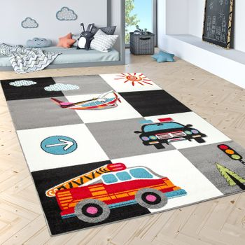 Children'S Rug Play Mat Police Fire Service Aeroplane Check Cream Grey Black – Bild 1