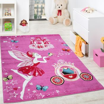 Children'S Rug Pink Fairy Princess Children Rugs For Girls Fuchsia Pink – Bild 1