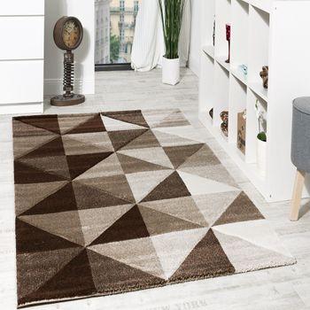 Wohnzimmer Teppich Piramid Design Modern Braun Beige Ausverkauf – Bild 1