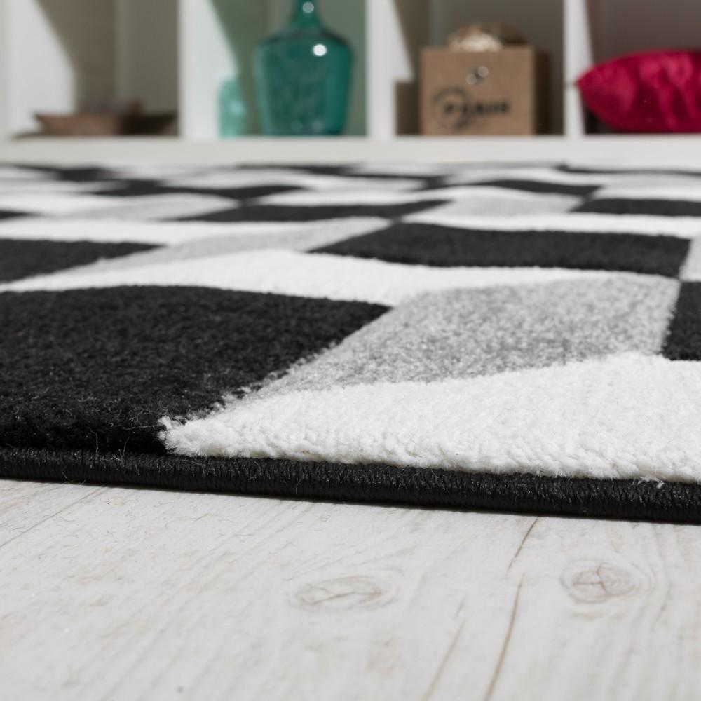 wohnzimmer teppich geo design w rfel muster grau creme ausverkauf restposten. Black Bedroom Furniture Sets. Home Design Ideas