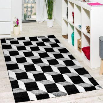 Wohnzimmer Teppich Geo Design Würfel Muster Grau Creme Ausverkauf – Bild 1